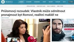 Aktuálně.cz: Vlastník může odmítnout pronajmout byt Romovi, realitní makléř ne