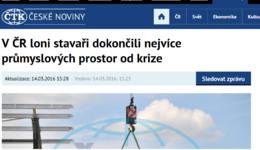 Ceskenoviny.cz: V ČR loni stavaři dokončili nejvíce průmyslových prostor od krize